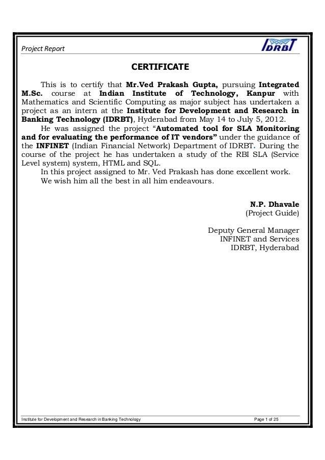 Internship Report_IDRBT, Hyderabad_2012 Slide 2