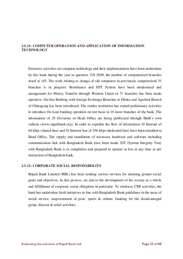 """internship report on performance evaluation of national bank ltd of bangladesh This is to certify that the internship report on al-arafah islami bank ltd titled """"overall banking system of al-arafah islami bank ltd"""" is prepared by radauana chowdhury for the partial fulfillment of bba program with concentration on human resource management (hrm) from stamford universitybangladesh this report is an original."""