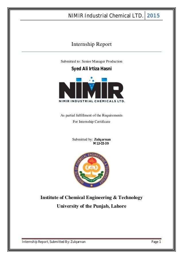 Internship report nimir industrial chemical ltd