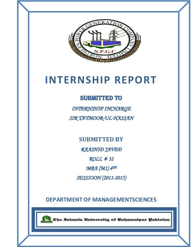 Internship Report Of Genco  Wapda Muzafar Garh