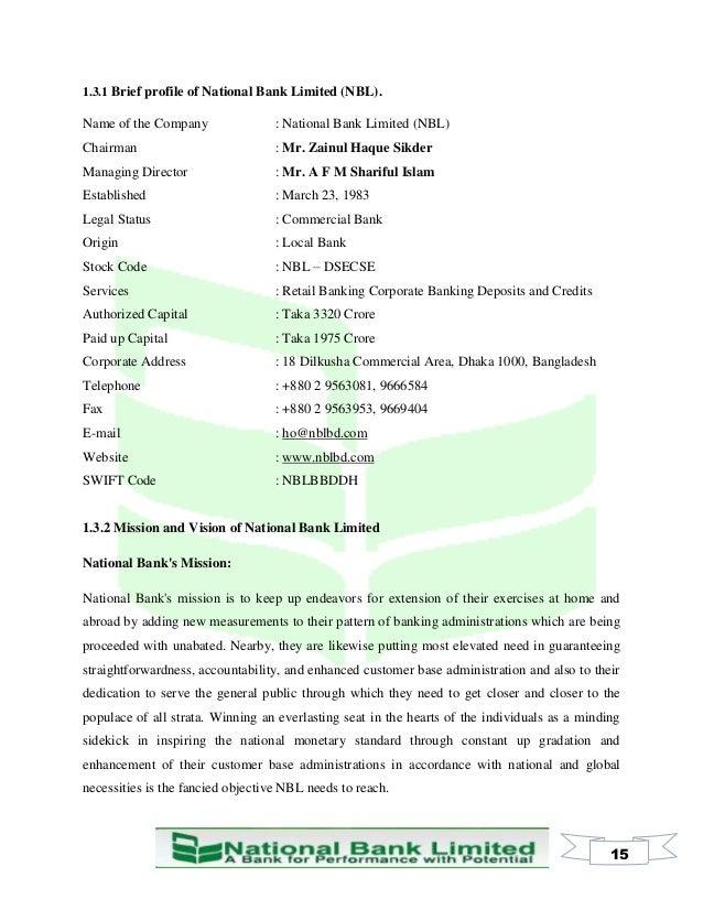 internship report on credit management of national bank ltd
