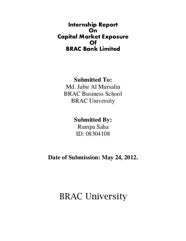 Internship Report On Capital Market Exposure Of Brac Bank By Lectures