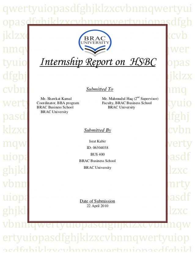 covering letter for project report - internship report on expansion strategy of hsbc in bangladesh