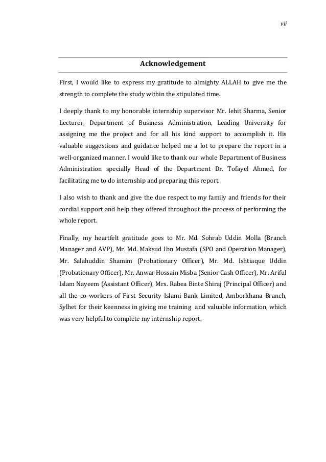 internship report on first security islami bank limited Internship report on  shahjalal islami bank limited  at first i would like to thanks the almighty allah and my family who help me to reach at this.