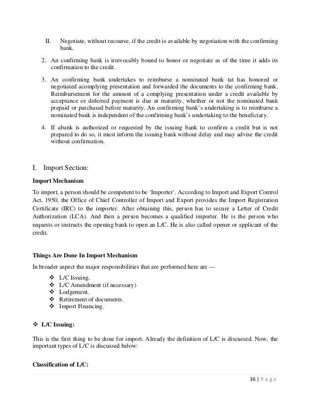 internship report on import export