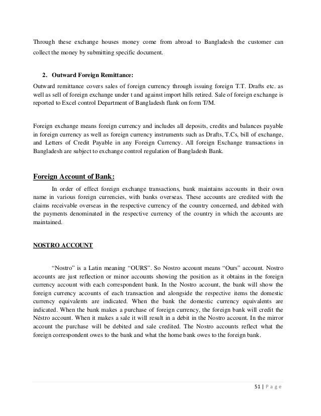 internship report on foreign exchange of An internship report presented in partial fulfillment a working report on the import department of prime bank ltd 31 foreign exchange.