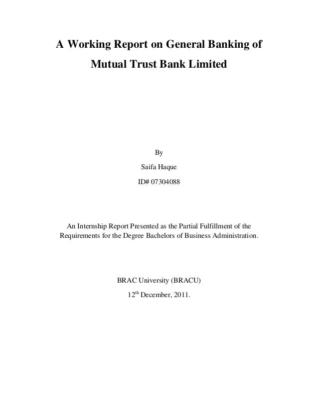 mutual trust bank internship report