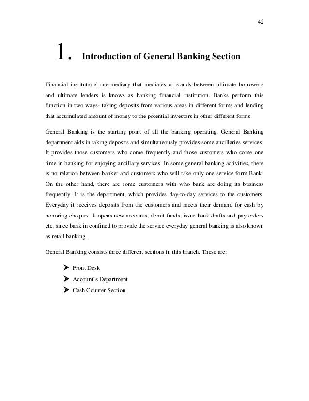 intern report on general banking of Ubs provides a complete set of banking services for individual,  ubs's prices & earnings report compares the cost of living in 77  general meetings of.