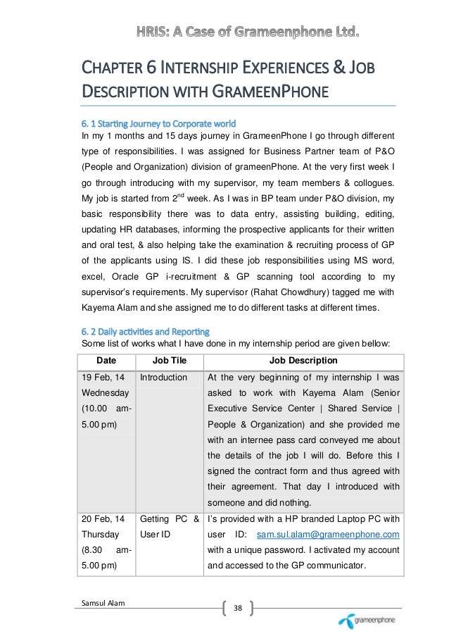 ... 48. Samsul Alam 38 CHAPTER 6 INTERNSHIP EXPERIENCES U0026 JOB DESCRIPTION  ...