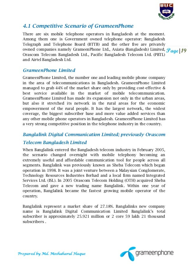 internship report on grameenphone ltd Grameenphone ltd is bangladesh's pioneering mobile communications  this internship report is submitted in a partial fulfillment of the.