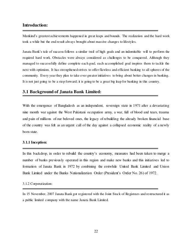 Internship report on janata bank essay