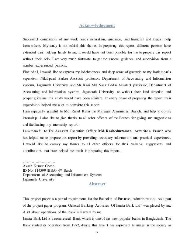 Internship Report on PRABHU Bank