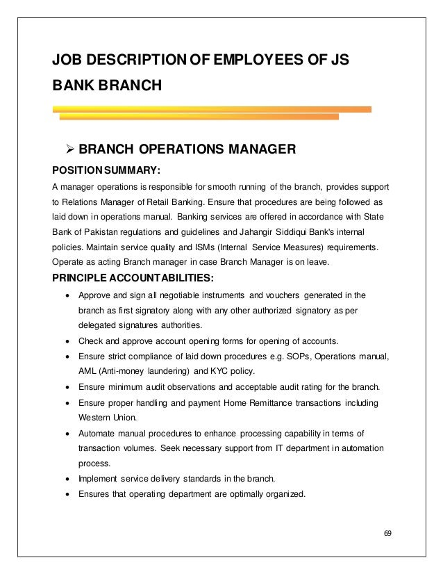 Internship report on js bank by labeeda farid - Bank compliance officer job description ...