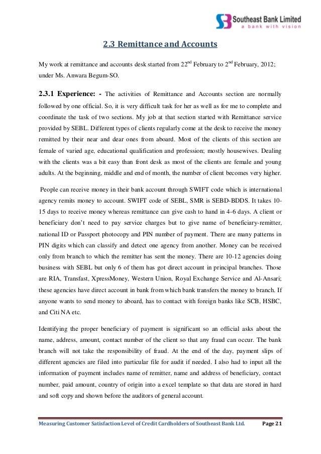 Internship Report On Measuring Customer Satisfaction Level Of Credit Bdds Incident