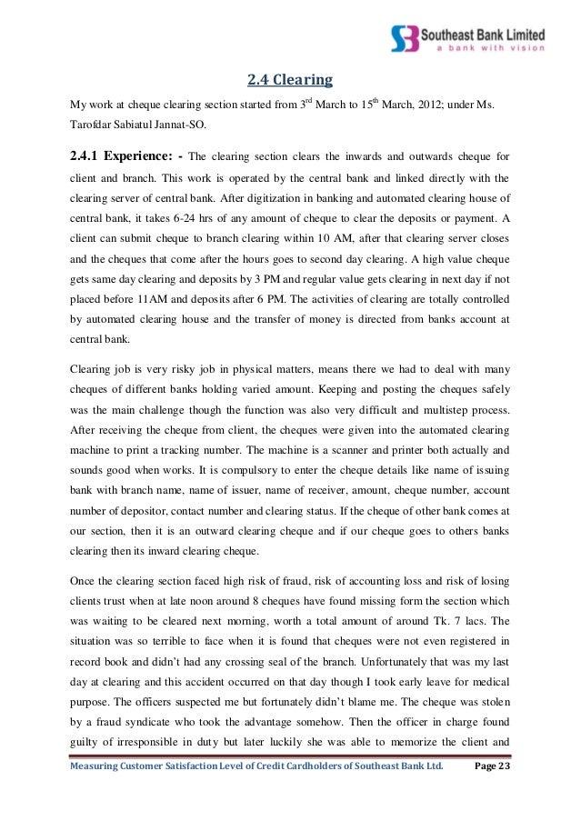 internship report on customer satisfaction