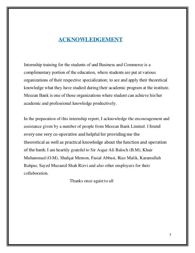 Internship Report On Meezan Bank Ltd Actual 2014