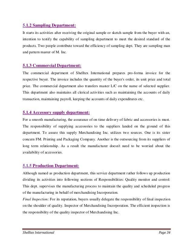 Internship Report On Merchandising Activities Of Shelltex Internation