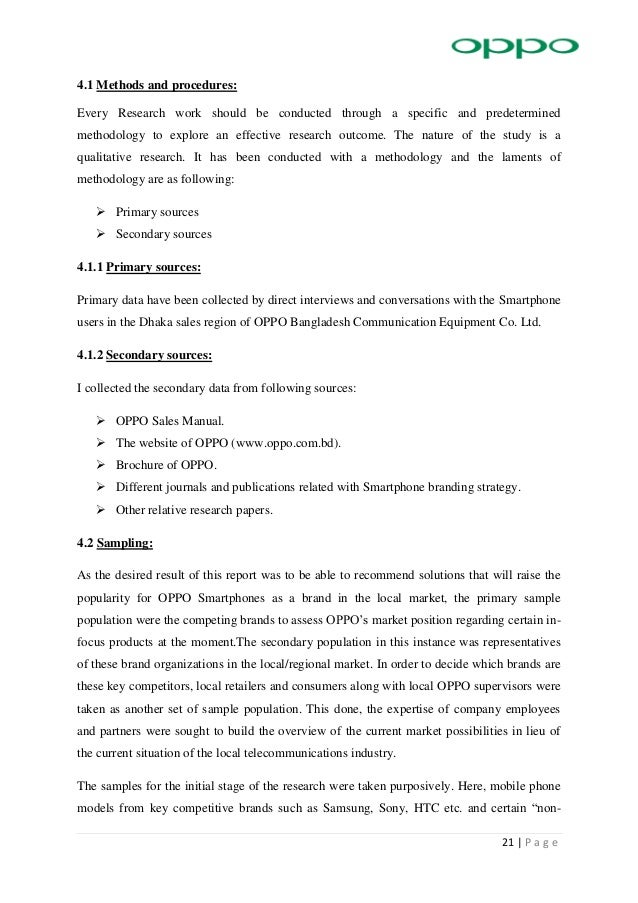 Internship report on oppo 20 p a g e chapter 4 methodology 29 fandeluxe Image collections