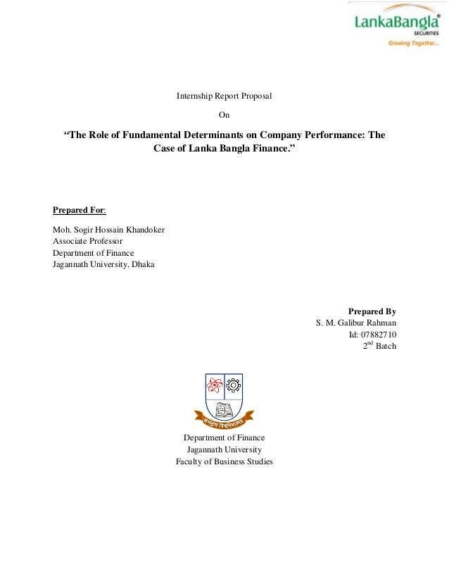 """Internship Report Proposal                                           On  """"The Role of Fundamental Determinants on Company ..."""