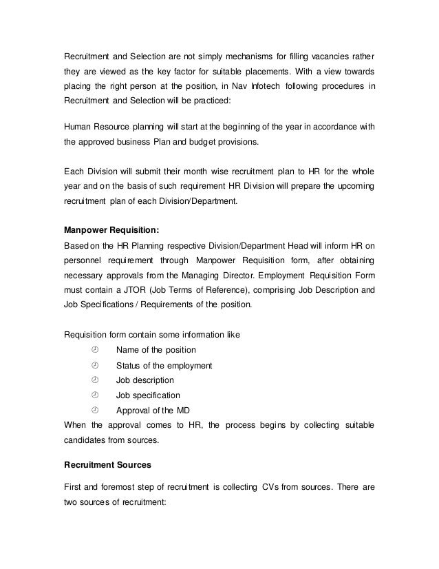 internship report on recruitment and selection process  39