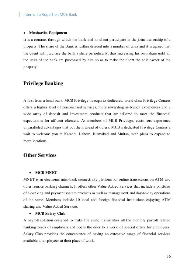 internship ship report on bank al Read this essay on internship report on prime bank come browse our large digital warehouse of free sample essays get the knowledge you need in order to pass your classes and more.