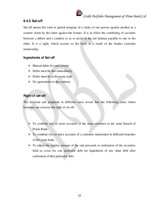 Internships report -_prime_bank_-_credit
