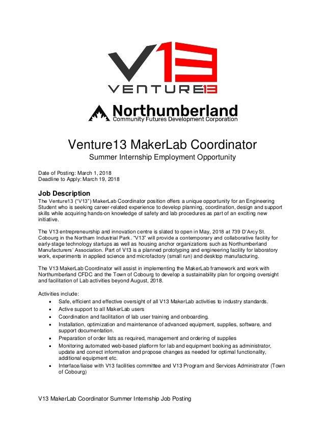 Summer 2018 NCFDC Student Internship - V13 MakerLab Coordinator