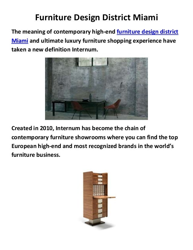 Internum furniture design in district miami for Furniture miami design district