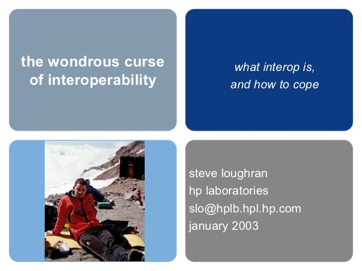 the wondrous curse of interoperability steve loughran hp laboratories [email_address] january 2003 what interop is, and ho...