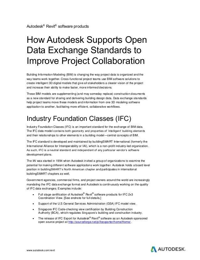 www.autodesk.com/revit Autodesk® Revit® software products How Autodesk Supports Open Data Exchange Standards to Improve Pr...