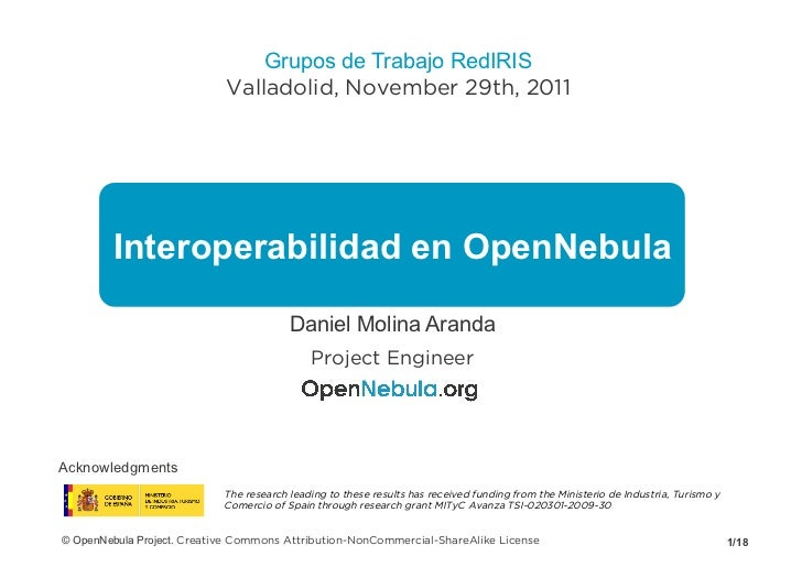 Grupos de Trabajo RedIRIS                            Valladolid, November 29th, 2011        Interoperabilidad en OpenNebul...