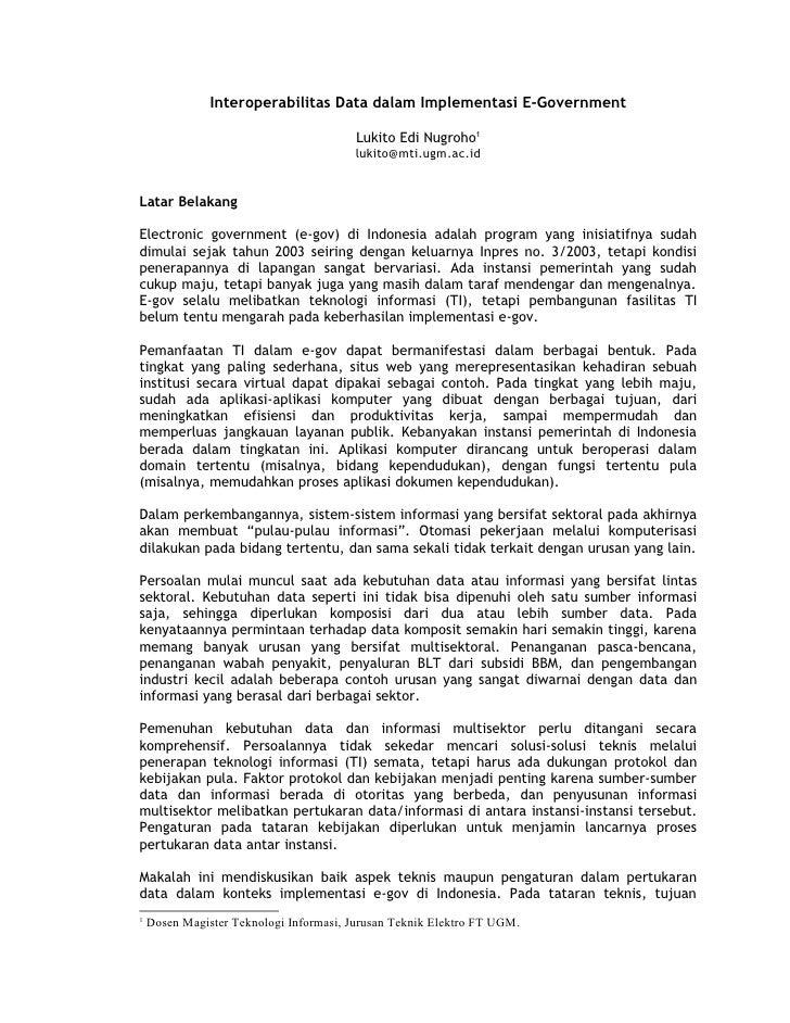 Interoperabilitas Data dalam Implementasi E-Government                                         Lukito Edi Nugroho1        ...