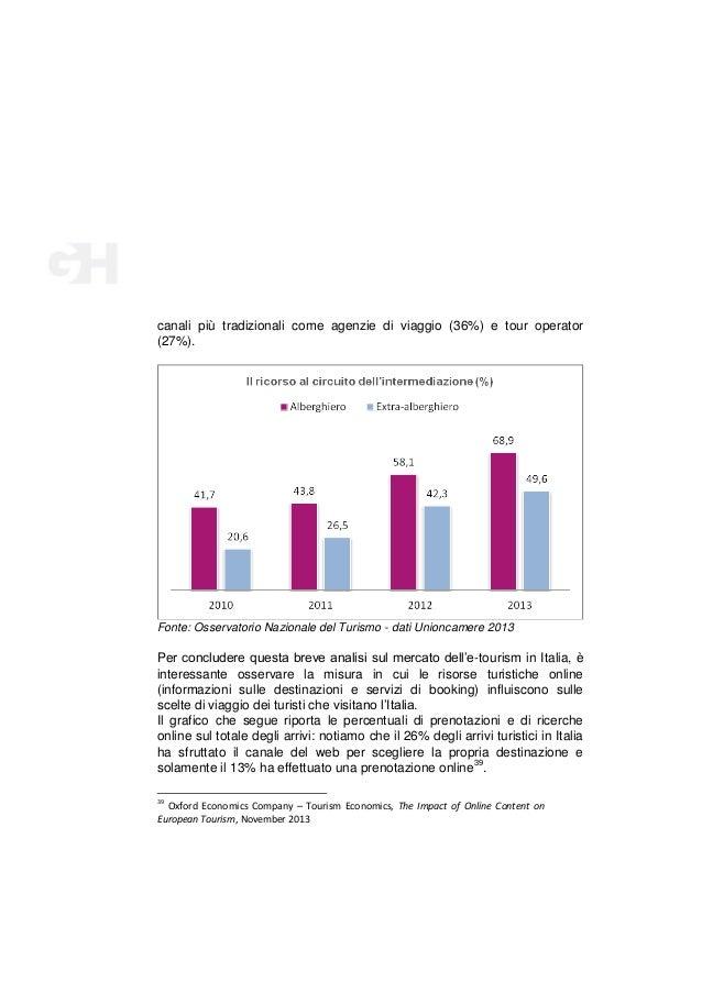 canali più tradizionali come agenzie di viaggio (36%) e tour operator (27%).  Fonte: Osservatorio Nazionale del Turismo - ...