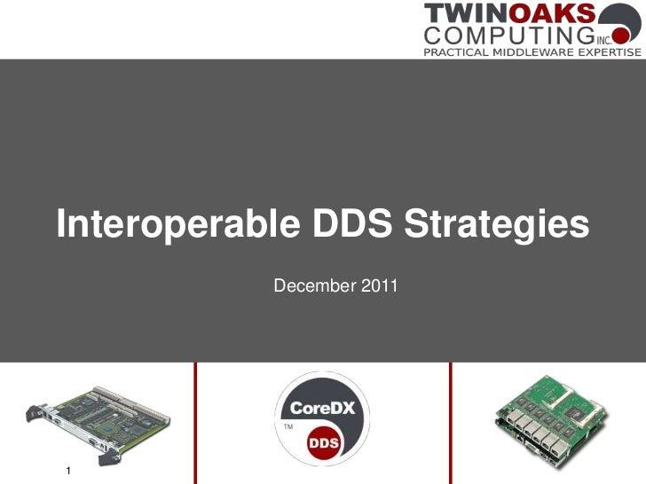 Interoperable DDS Strategies           December 20111