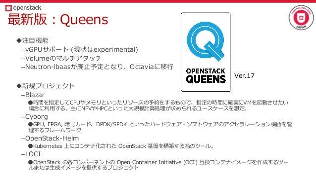 最新版:Queens 注目機能 –vGPUサポート (現状はexperimental) –Volumeのマルチアタッチ –Neutron-lbaasが廃止予定となり、Octaviaに移行 新規プロジェクト –Blazar ●時間を指定してC...