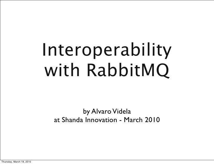 Interoperability                             with RabbitMQ                                       by Alvaro Videla         ...