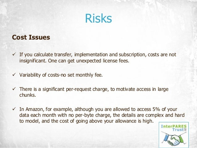 Risks Cost Issues ü If you calculate transfer, implementation and subscription, costs are not insignificant. One can get u...
