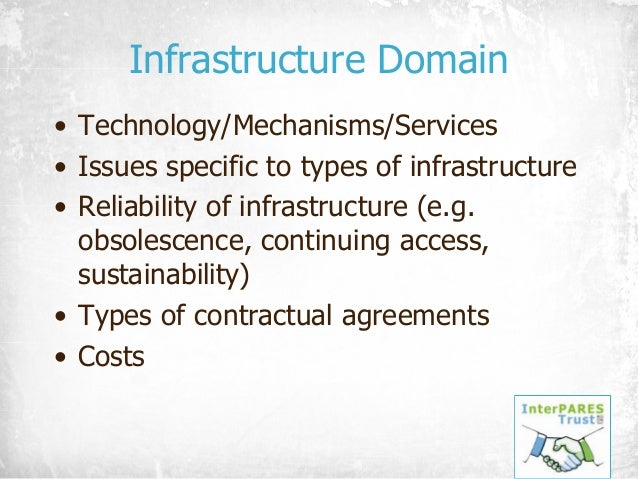 Infrastructure Domain • Technology/Mechanisms/Services • Issues specific to types of infrastructure • Reliability of infra...