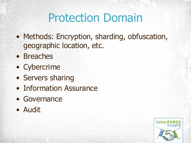 Protection Domain • Methods: Encryption, sharding, obfuscation, geographic location, etc. • Breaches • Cybercrime • Server...
