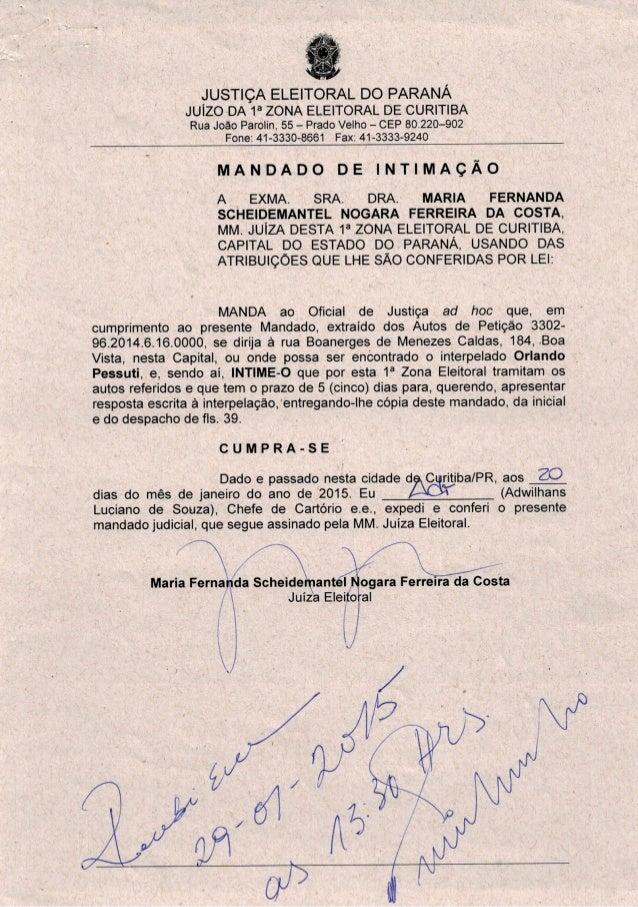 115a?  JUSTIÇA ELEITORAL DO PARANÁ  JUÍZO DA 1° ZONA ELEITORAL DE CURITIBA Rua João Parolin,  55 - Prado Velho - CEP 80.22...