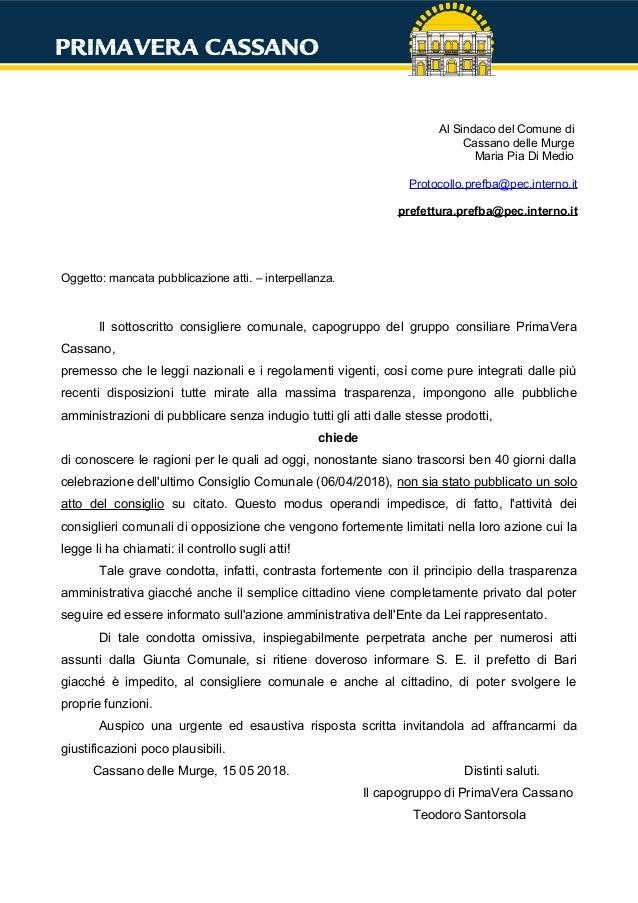 Al Sindaco del Comune di Cassano delle Murge Maria Pia Di Medio Protocollo.prefba@pec.interno.it prefettura.prefba@pec.int...