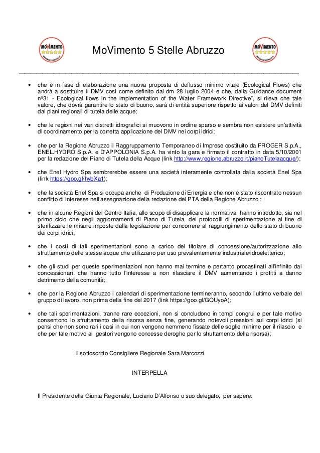MoVimento 5 Stelle Abruzzo ________________________________________________ • che è in fase di elaborazione una nuova prop...