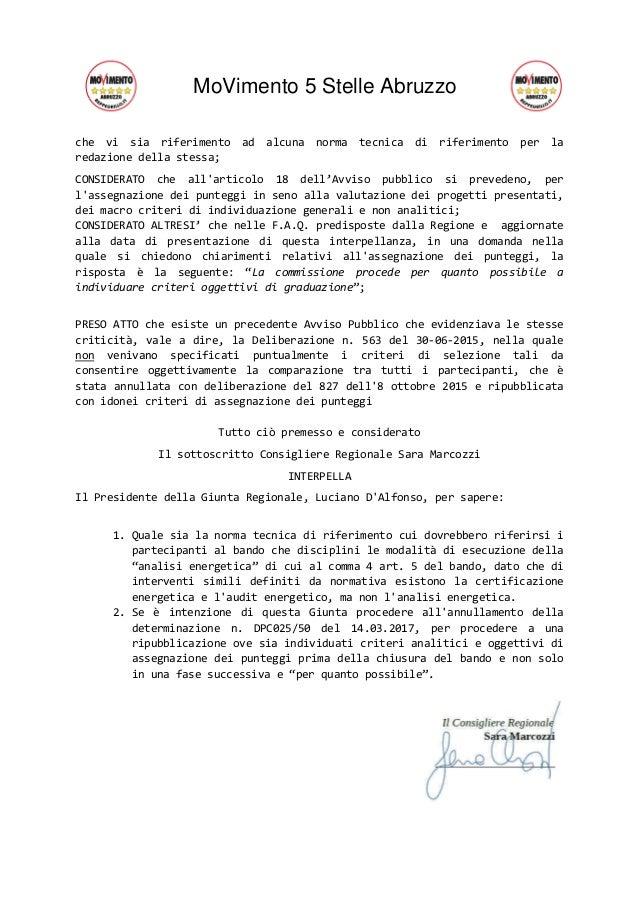 MoVimento 5 Stelle Abruzzo che vi sia riferimento ad alcuna norma tecnica di riferimento per la redazione della stessa; CO...