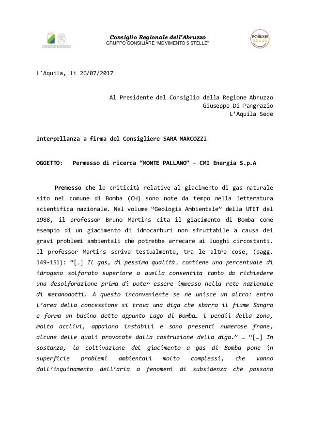 """Consiglio Regionale dell'Abruzzo GRUPPO CONSILIARE """"MOVIMENTO 5 STELLE"""" L'Aquila, li 26/07/2017 Al Presidente del Consigli..."""
