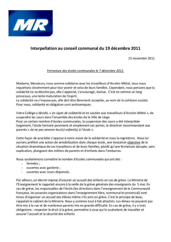 Interpellation au conseil communal du 19 décembre 2011                                                                    ...