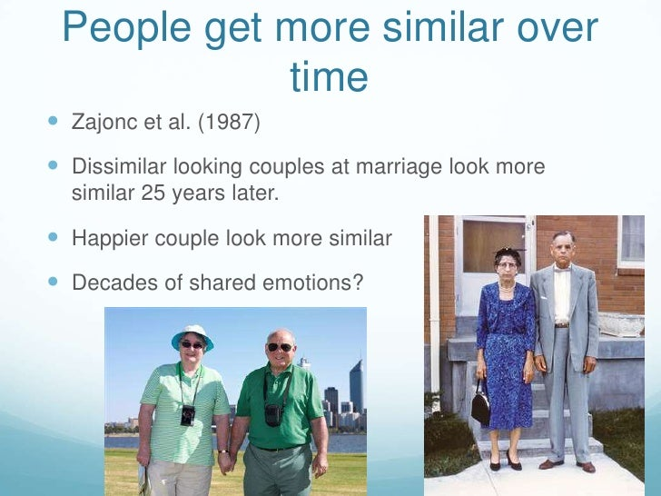 People get more similar over time<br />Zajonc et al. (1987)<br />Dissimilar looking couples at marriage look more similar ...