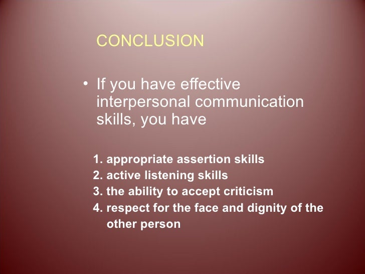 conclusion of interpersonal communication