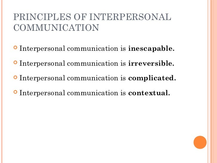 7 principles of interpersonal communication