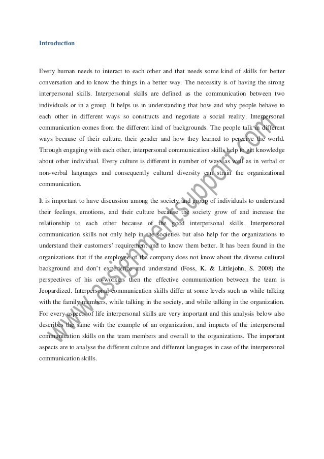 interpersonal paper Unit 4 intrapersonal and interpersonal communication page 37 characterized by a strong feedback component communication is enhanced when the relationship.