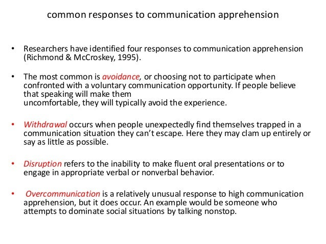 high communication apprehension